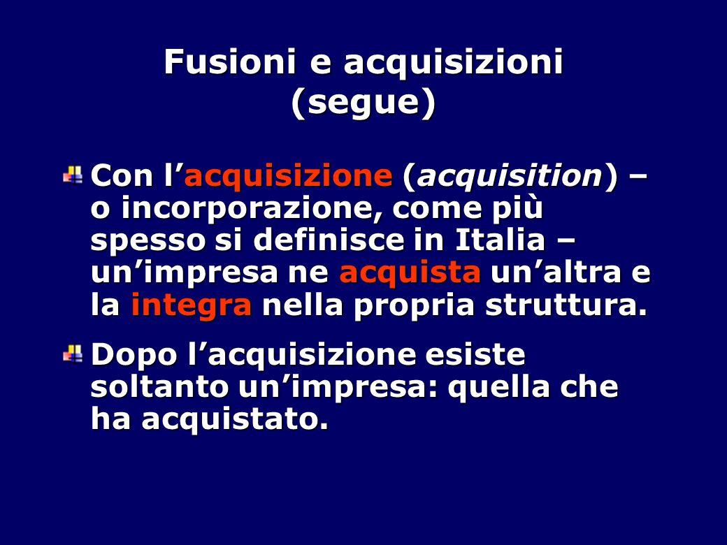 Fusioni e acquisizioni (segue) Con l'acquisizione (acquisition) – o incorporazione, come più spesso si definisce in Italia – un'impresa ne acquista un'altra e la integra nella propria struttura.
