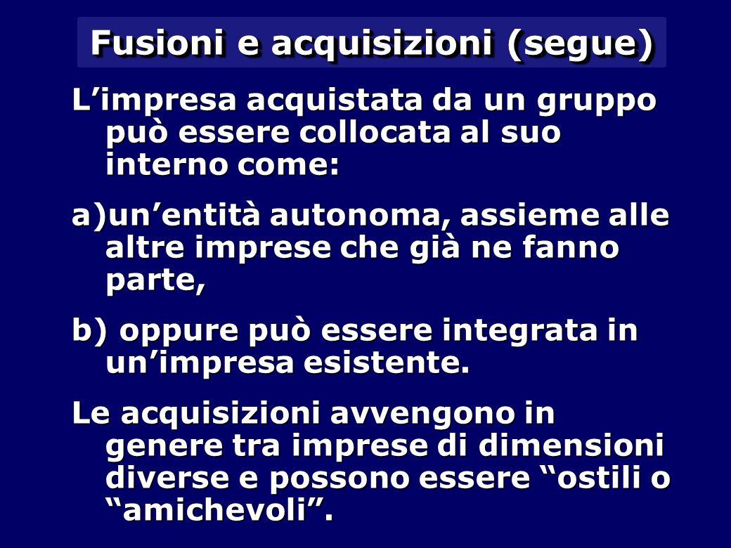 Fusioni e acquisizioni (segue) L'impresa acquistata da un gruppo può essere collocata al suo interno come: a)un'entità autonoma, assieme alle altre imprese che già ne fanno parte, b) oppure può essere integrata in un'impresa esistente.