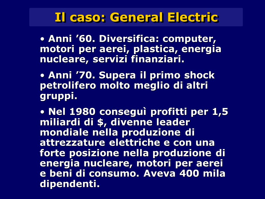 Il caso: General Electric Anni '60.