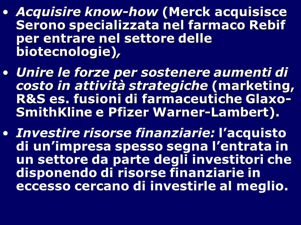 Acquisire know-how (Merck acquisisce Serono specializzata nel farmaco Rebif per entrare nel settore delle biotecnologie),Acquisire know-how (Merck acquisisce Serono specializzata nel farmaco Rebif per entrare nel settore delle biotecnologie), Unire le forze per sostenere aumenti di costo in attività strategiche (marketing, R&S es.