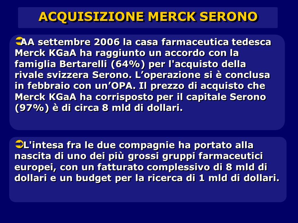   AA settembre 2006 la casa farmaceutica tedesca Merck KGaA ha raggiunto un accordo con la famiglia Bertarelli (64%) per l acquisto della rivale svizzera Serono.