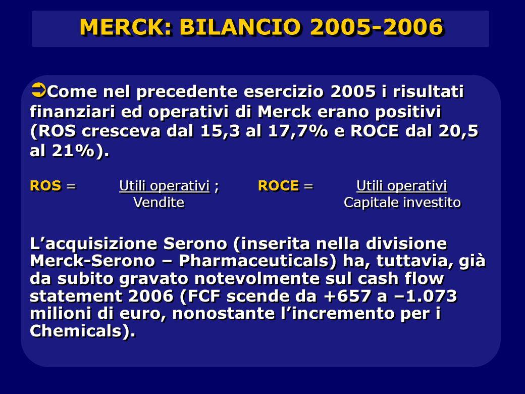 MERCK: BILANCIO 2005-2006   Come nel precedente esercizio 2005 i risultati finanziari ed operativi di Merck erano positivi (ROS cresceva dal 15,3 al