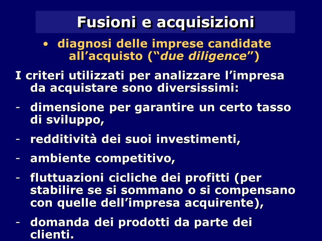 """Fusioni e acquisizioni diagnosi delle imprese candidate all'acquisto (""""due diligence"""")diagnosi delle imprese candidate all'acquisto (""""due diligence"""")"""