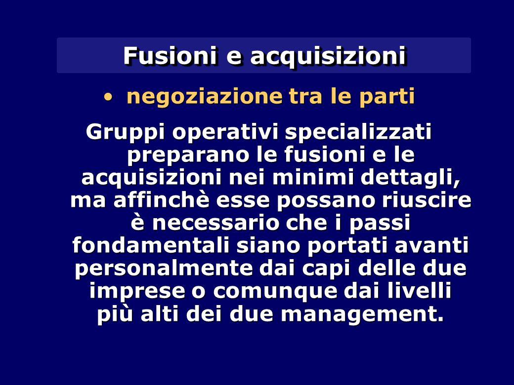Fusioni e acquisizioni negoziazione tra le partinegoziazione tra le parti Gruppi operativi specializzati preparano le fusioni e le acquisizioni nei mi