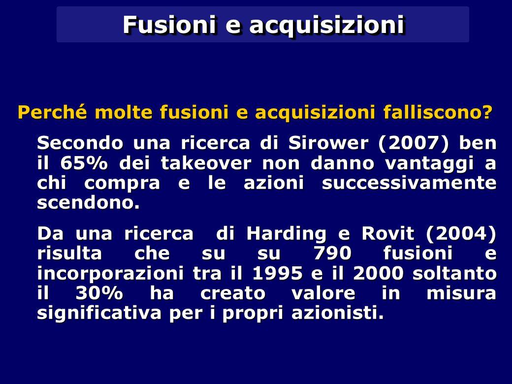 Fusioni e acquisizioni Perché molte fusioni e acquisizioni falliscono? Secondo una ricerca di Sirower (2007) ben il 65% dei takeover non danno vantagg