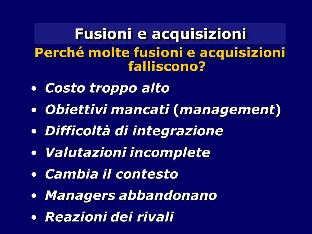Fusioni e acquisizioni Perché molte fusioni e acquisizioni falliscono? Costo troppo altoCosto troppo alto Obiettivi mancati (management)Obiettivi manc