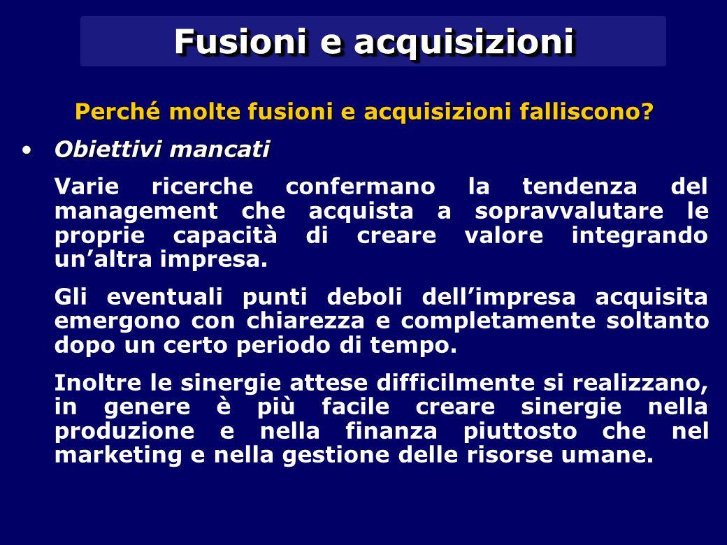 Fusioni e acquisizioni Perché molte fusioni e acquisizioni falliscono? Obiettivi mancatiObiettivi mancati Varie ricerche confermano la tendenza del ma