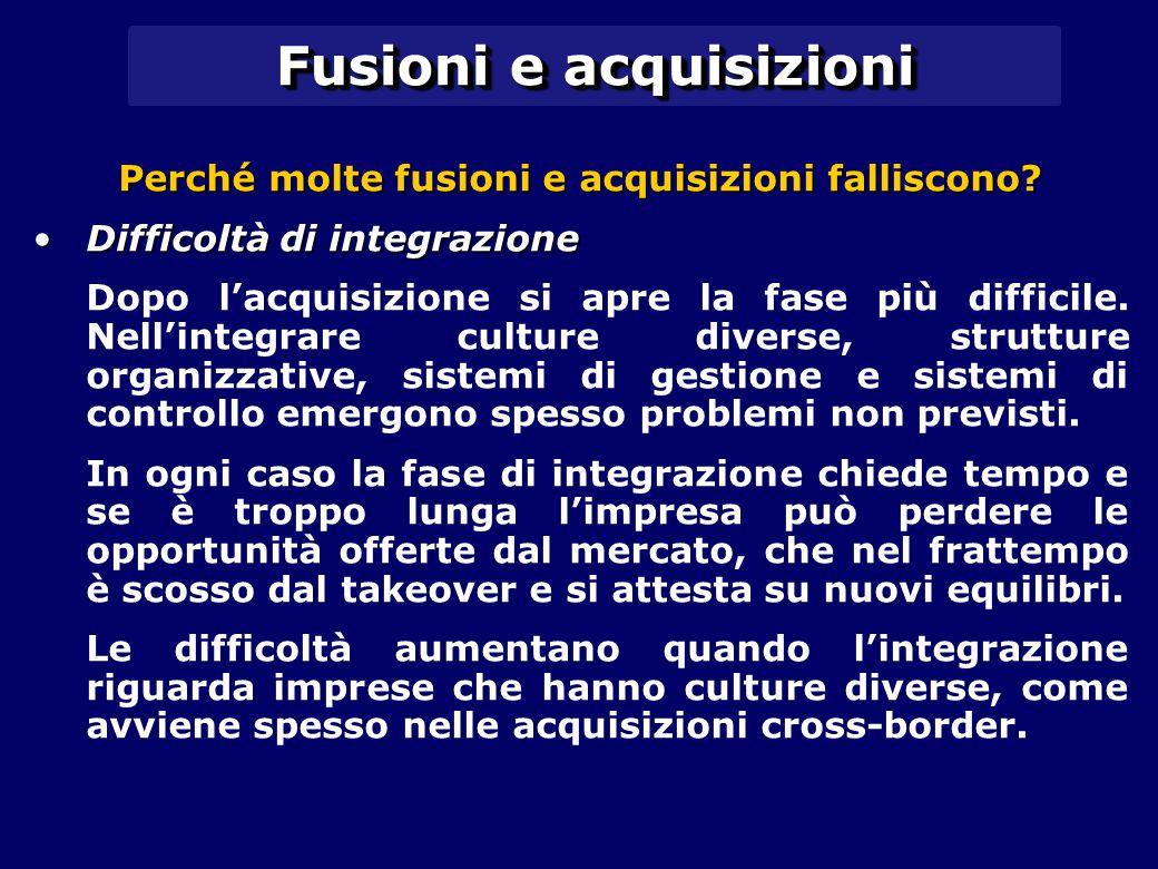 Fusioni e acquisizioni Perché molte fusioni e acquisizioni falliscono? Difficoltà di integrazioneDifficoltà di integrazione Dopo l'acquisizione si apr