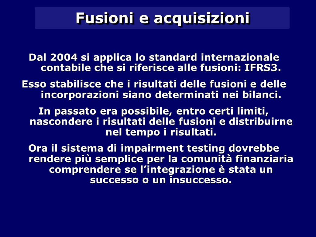 Fusioni e acquisizioni Dal 2004 si applica lo standard internazionale contabile che si riferisce alle fusioni: IFRS3.