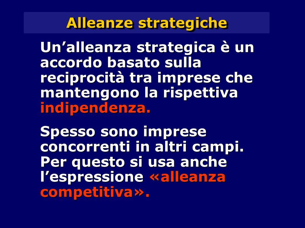 Alleanze strategiche Un'alleanza strategica è un accordo basato sulla reciprocità tra imprese che mantengono la rispettiva indipendenza. Spesso sono i