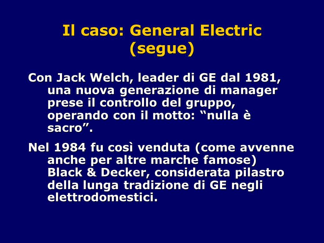 Il caso: General Electric (segue) Con Jack Welch, leader di GE dal 1981, una nuova generazione di manager prese il controllo del gruppo, operando con il motto: nulla è sacro .