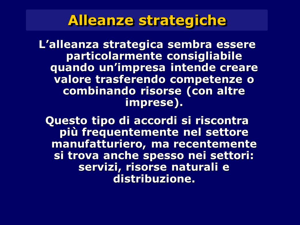 Alleanze strategiche L'alleanza strategica sembra essere particolarmente consigliabile quando un'impresa intende creare valore trasferendo competenze o combinando risorse (con altre imprese).