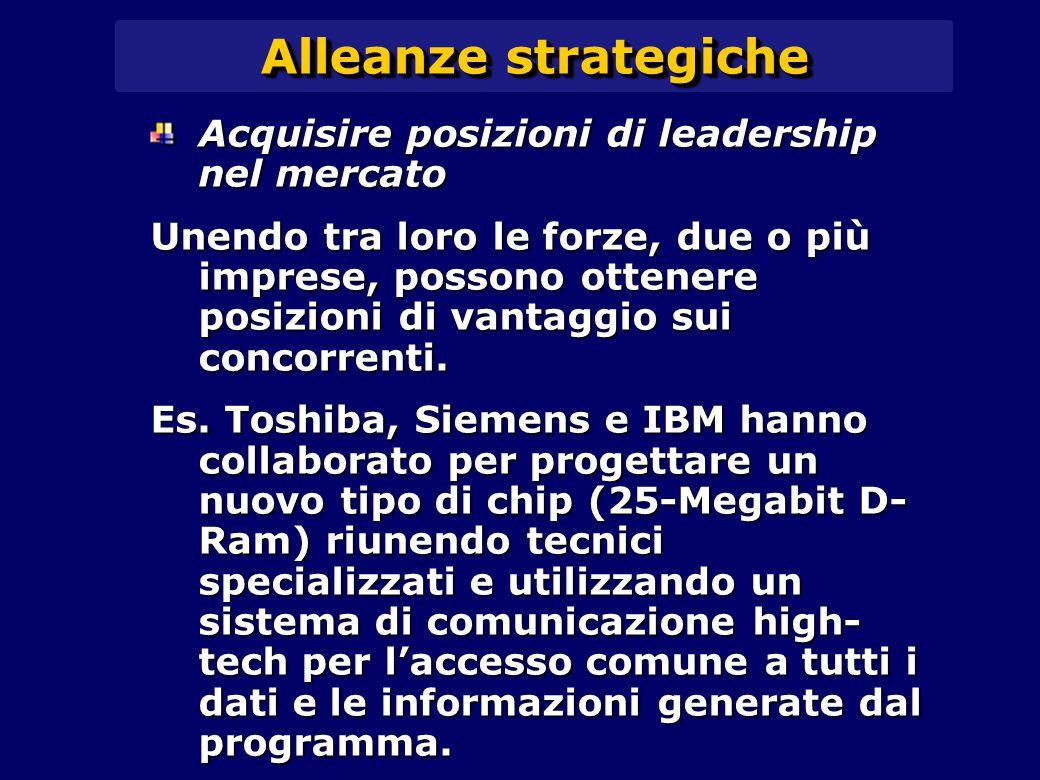 Alleanze strategiche Acquisire posizioni di leadership nel mercato Unendo tra loro le forze, due o più imprese, possono ottenere posizioni di vantaggio sui concorrenti.