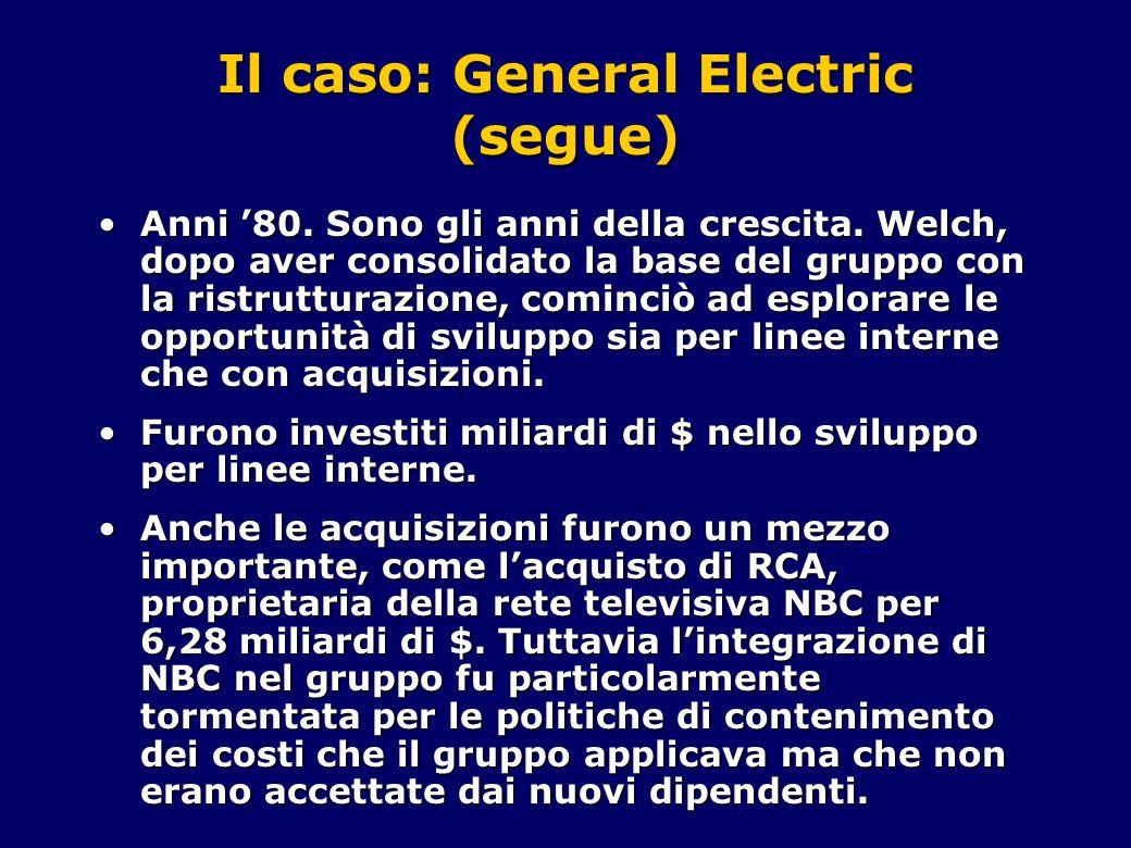Il caso: General Electric (segue) Anni '80. Sono gli anni della crescita. Welch, dopo aver consolidato la base del gruppo con la ristrutturazione, com