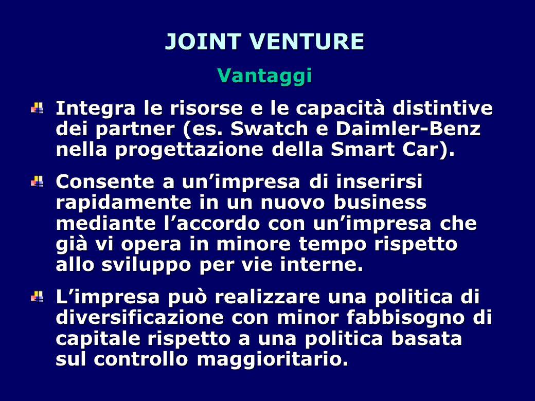 JOINT VENTURE Vantaggi Integra le risorse e le capacità distintive dei partner (es. Swatch e Daimler-Benz nella progettazione della Smart Car). Consen