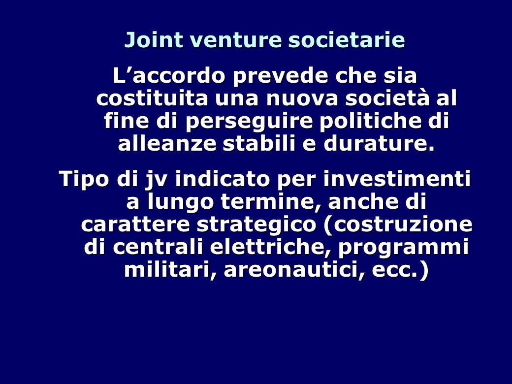 Joint venture societarie L'accordo prevede che sia costituita una nuova società al fine di perseguire politiche di alleanze stabili e durature.
