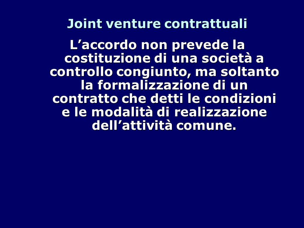 Joint venture contrattuali L'accordo non prevede la costituzione di una società a controllo congiunto, ma soltanto la formalizzazione di un contratto che detti le condizioni e le modalità di realizzazione dell'attività comune.
