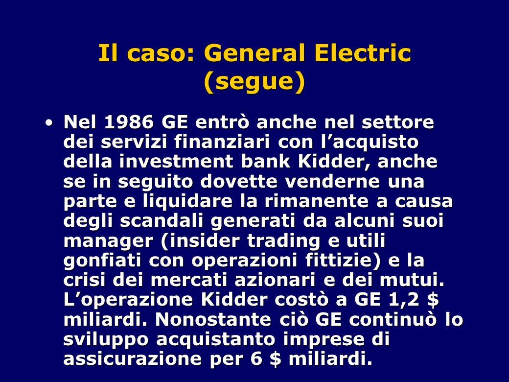 Il caso: General Electric (segue) Nel 1986 GE entrò anche nel settore dei servizi finanziari con l'acquisto della investment bank Kidder, anche se in seguito dovette venderne una parte e liquidare la rimanente a causa degli scandali generati da alcuni suoi manager (insider trading e utili gonfiati con operazioni fittizie) e la crisi dei mercati azionari e dei mutui.