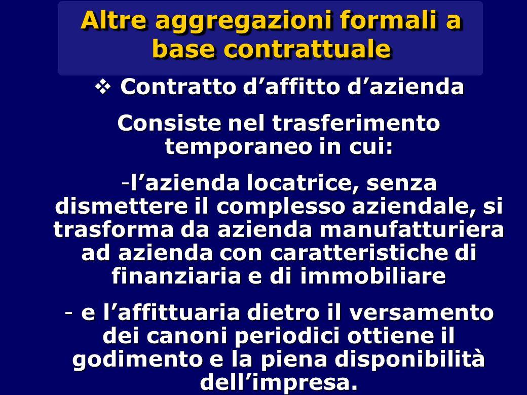 Altre aggregazioni formali a base contrattuale  Contratto d'affitto d'azienda Consiste nel trasferimento temporaneo in cui: -l'azienda locatrice, sen