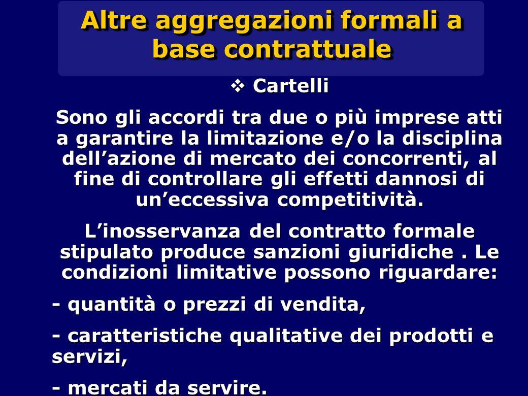 Altre aggregazioni formali a base contrattuale  Cartelli Sono gli accordi tra due o più imprese atti a garantire la limitazione e/o la disciplina del