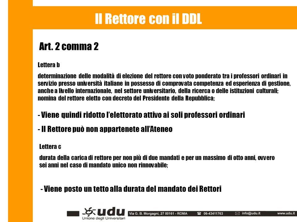 Art. 2 comma 2 Il Rettore con il DDL Lettera b determinazione delle modalità di elezione del rettore con voto ponderato tra i professori ordinari in s