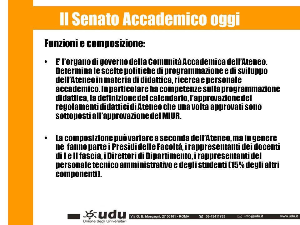 Il Senato Accademico oggi Funzioni e composizione: E' l'organo di governo della Comunità Accademica dell'Ateneo.