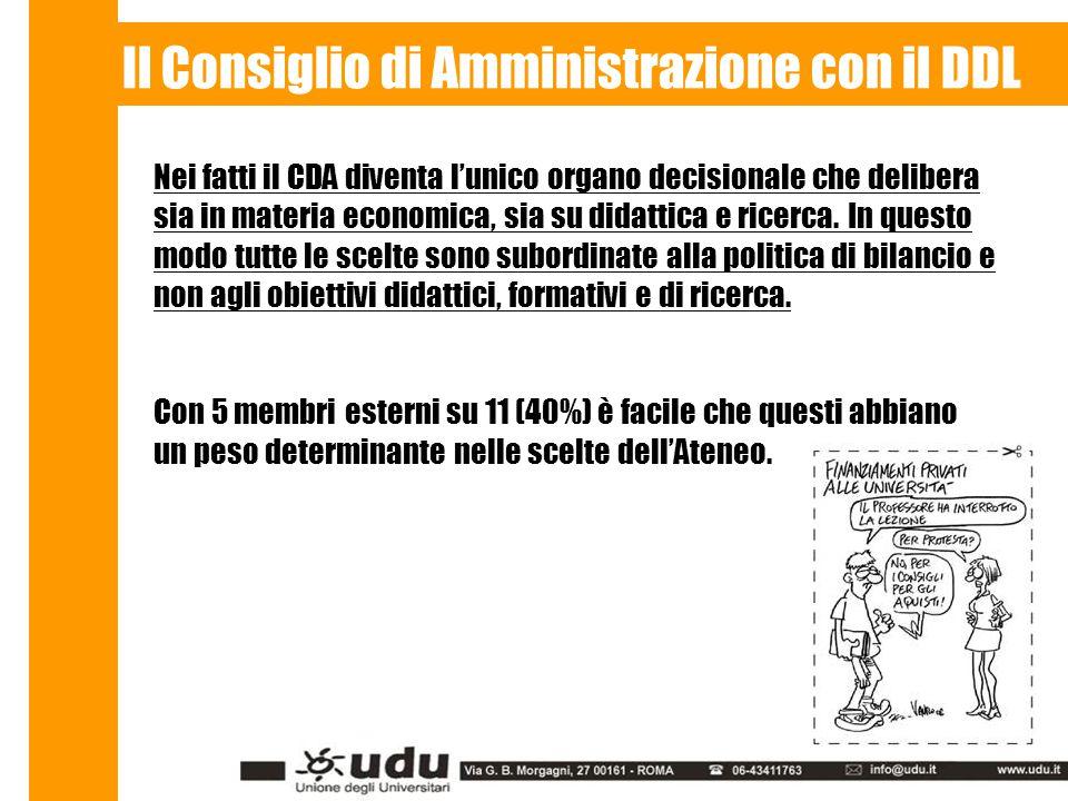 Il Consiglio di Amministrazione con il DDL Nei fatti il CDA diventa l'unico organo decisionale che delibera sia in materia economica, sia su didattica e ricerca.