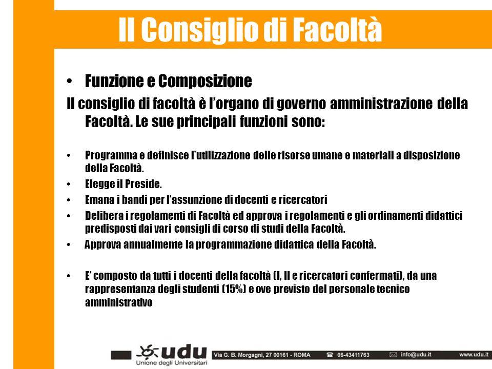 Funzione e Composizione Il consiglio di facoltà è l'organo di governo amministrazione della Facoltà.