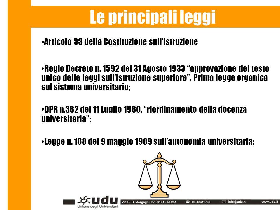 Le principali leggi Articolo 33 della Costituzione sull'istruzione Regio Decreto n.