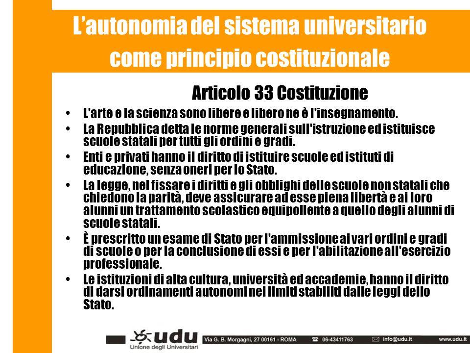 L'autonomia del sistema universitario come principio costituzionale Articolo 33 Costituzione L arte e la scienza sono libere e libero ne è l insegnamento.