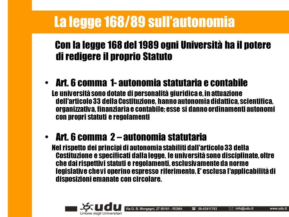 La legge 168/89 sull'autonomia Con la legge 168 del 1989 ogni Università ha il potere di redigere il proprio Statuto Art.