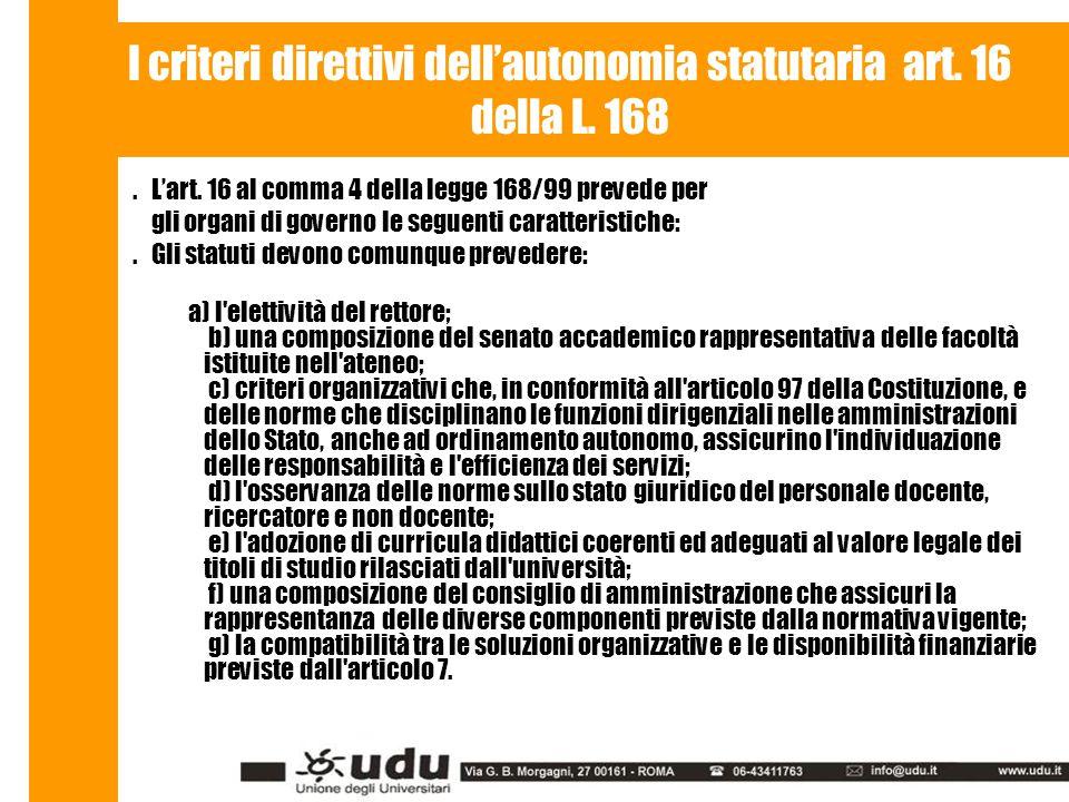 I criteri direttivi dell'autonomia statutaria art.