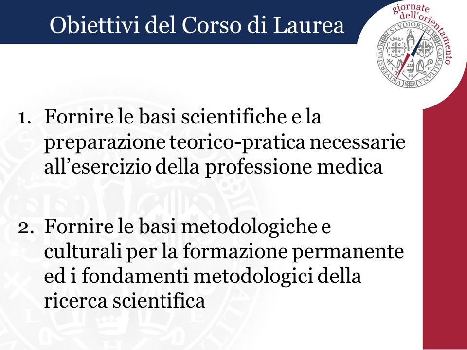 Obiettivi del Corso di Laurea 1.Fornire le basi scientifiche e la preparazione teorico-pratica necessarie all'esercizio della professione medica 2.For