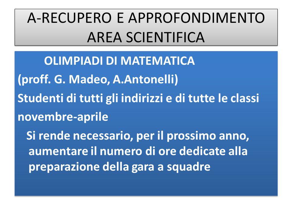 A-RECUPERO E APPROFONDIMENTO AREA SCIENTIFICA OLIMPIADI DI MATEMATICA (proff. G. Madeo, A.Antonelli) Studenti di tutti gli indirizzi e di tutte le cla