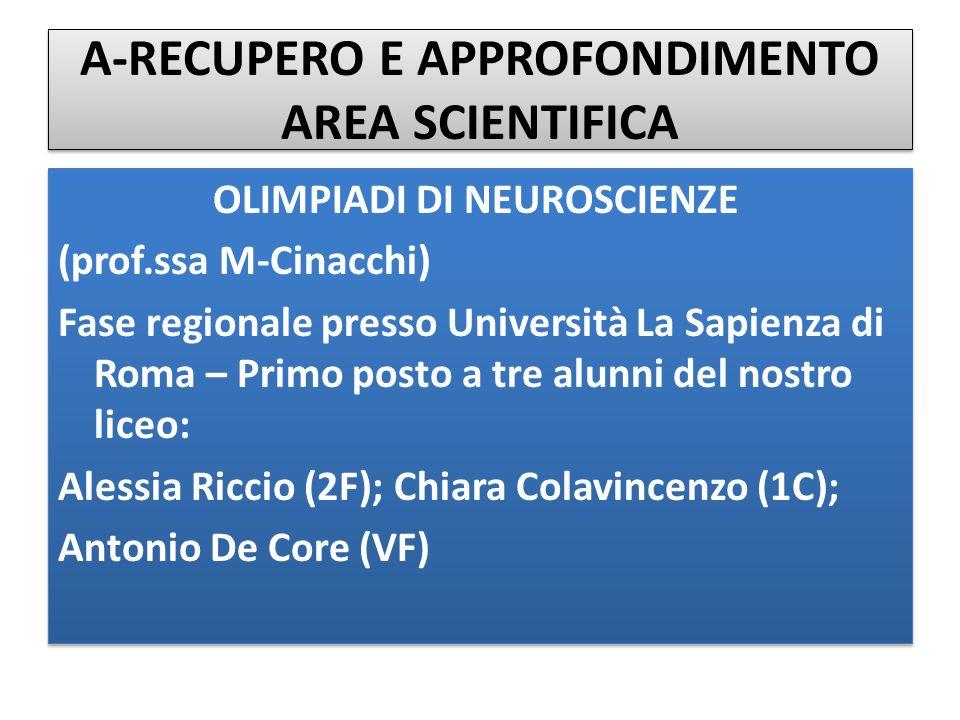 A-RECUPERO E APPROFONDIMENTO AREA SCIENTIFICA OLIMPIADI DI NEUROSCIENZE (prof.ssa M-Cinacchi) Fase regionale presso Università La Sapienza di Roma – P