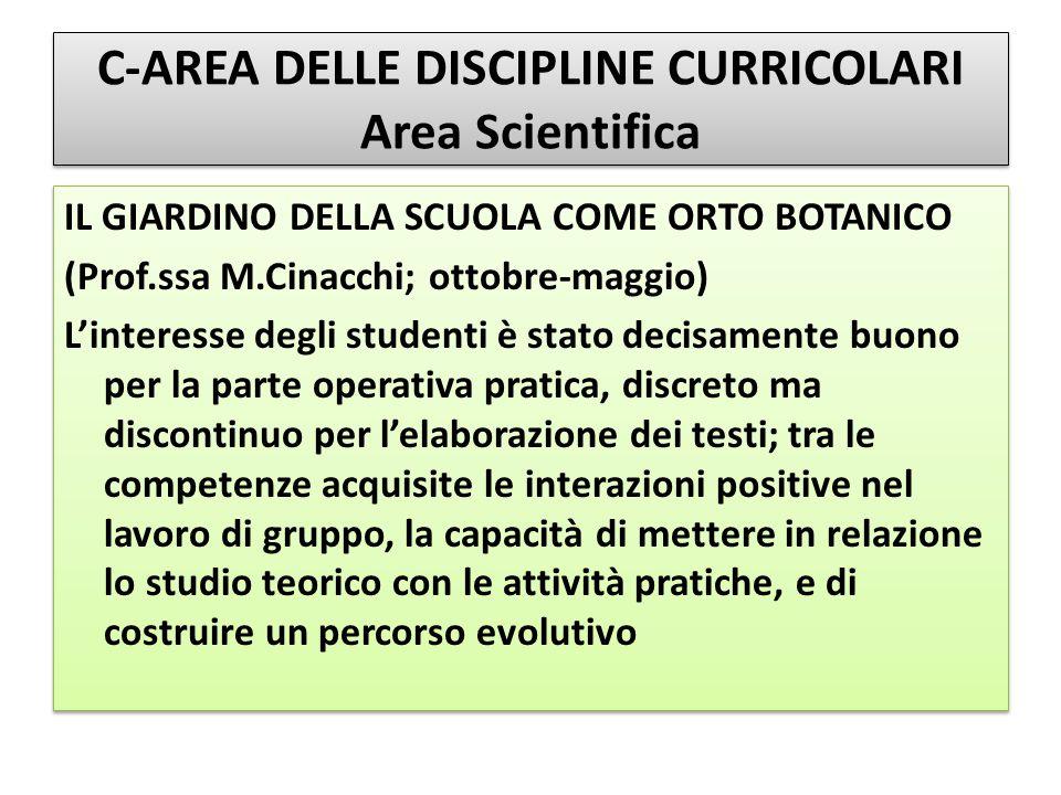 C-AREA DELLE DISCIPLINE CURRICOLARI Area Scientifica IL GIARDINO DELLA SCUOLA COME ORTO BOTANICO (Prof.ssa M.Cinacchi; ottobre-maggio) L'interesse deg