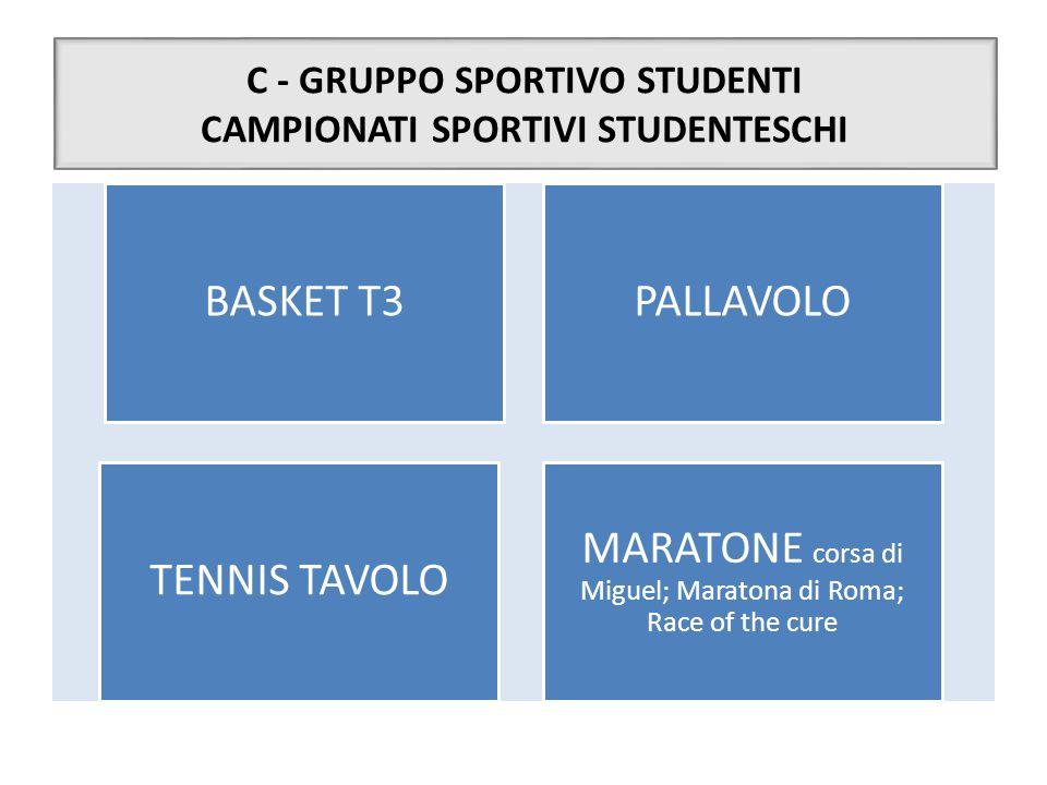 C - GRUPPO SPORTIVO STUDENTI CAMPIONATI SPORTIVI STUDENTESCHI BASKET T3PALLAVOLO TENNIS TAVOLO MARATONE corsa di Miguel; Maratona di Roma; Race of the