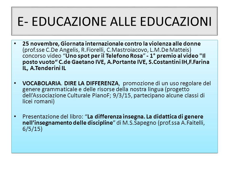 E- EDUCAZIONE ALLE EDUCAZIONI 25 novembre, Giornata internazionale contro la violenza alle donne (prof.sse C.De Angelis, R.Fiorelli, C.Mastroiacovo, L