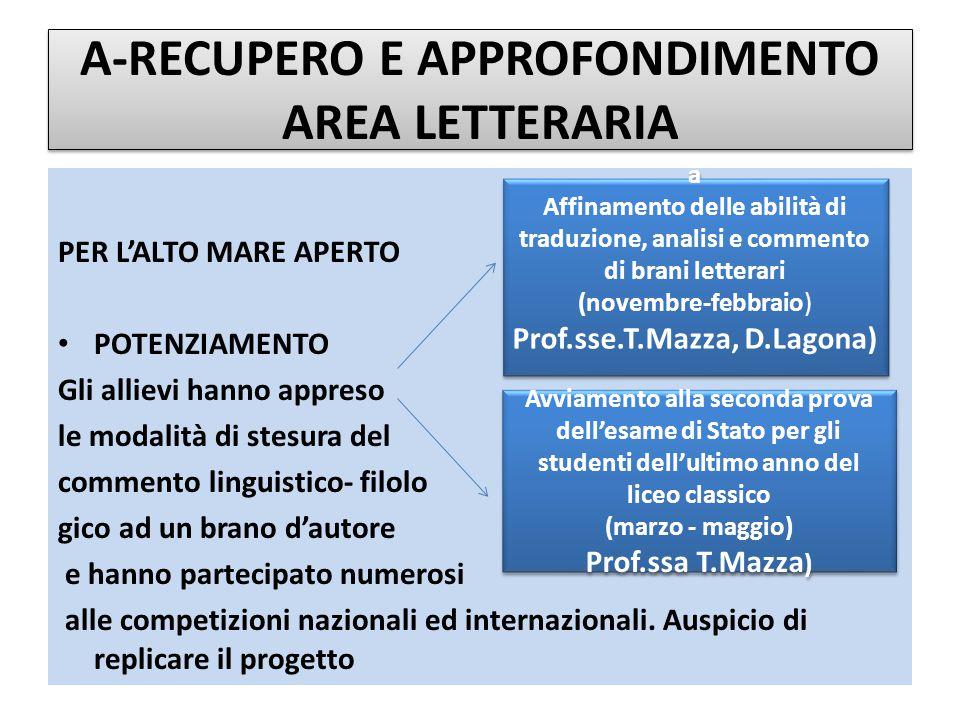 C-AREA DELLE DISCIPLINE CURRICOLARI Area Scientifica A SCUOLA…NON SCORDIAMOCI IL CERVELLO (prof.ssa M.