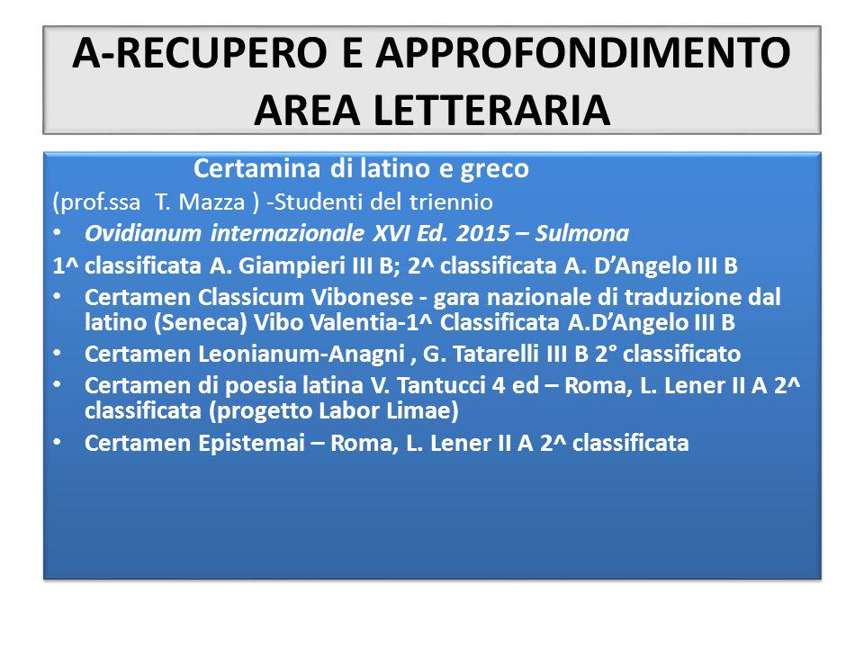 A-RECUPERO E APPROFONDIMENTO AREA LETTERARIA Certamina di latino e greco (prof.ssa T. Mazza ) -Studenti del triennio Ovidianum internazionale XVI Ed.
