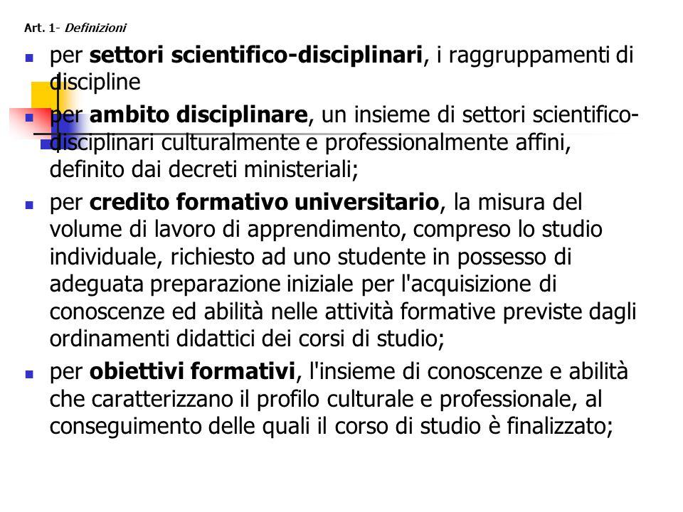 Art. 1- Definizioni per settori scientifico-disciplinari, i raggruppamenti di discipline per ambito disciplinare, un insieme di settori scientifico- d