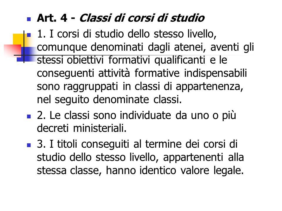 Art. 4 - Classi di corsi di studio 1.