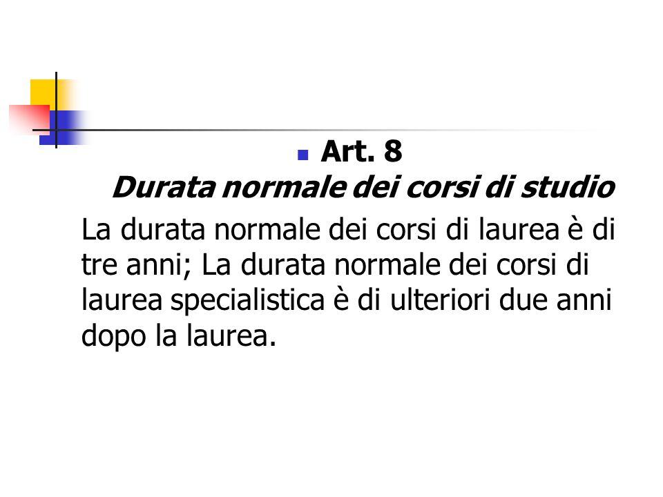 Art. 8 Durata normale dei corsi di studio La durata normale dei corsi di laurea è di tre anni; La durata normale dei corsi di laurea specialistica è d