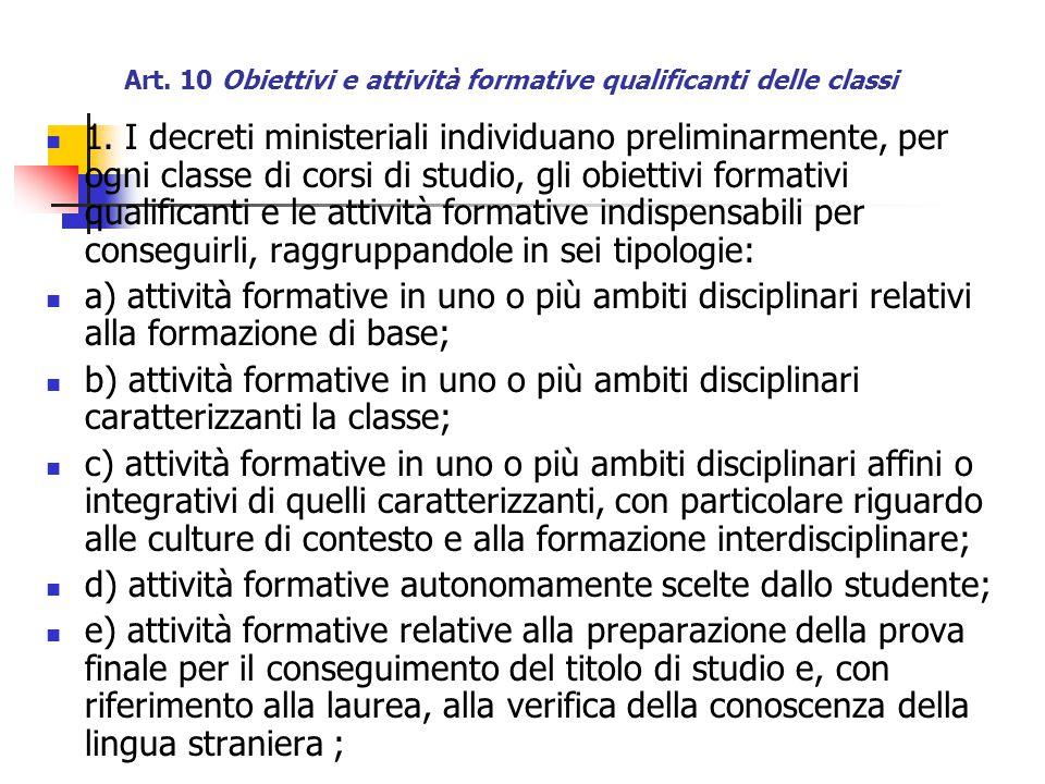 Art. 10 Obiettivi e attività formative qualificanti delle classi 1.