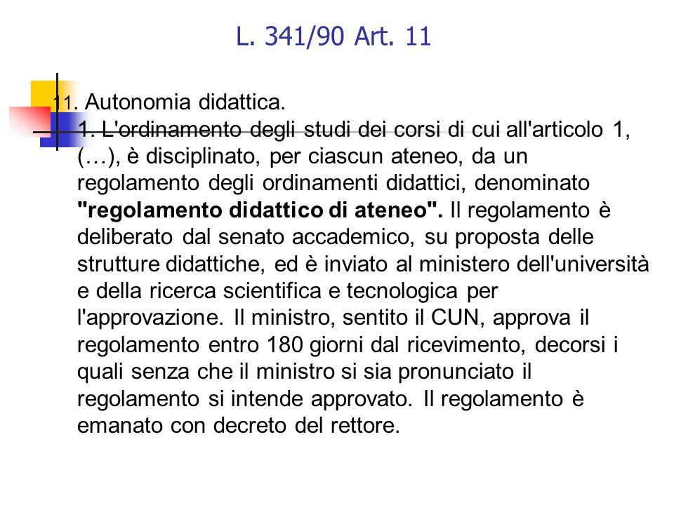 L. 341/90 Art. 11 11. Autonomia didattica. 1.