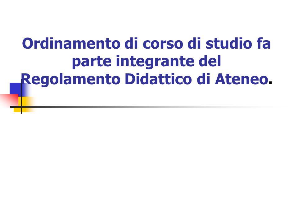 Ordinamento di corso di studio fa parte integrante del Regolamento Didattico di Ateneo.