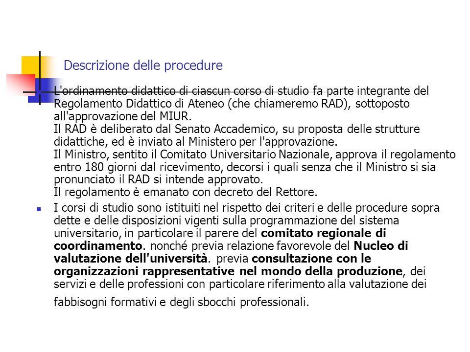 Descrizione delle procedure L ordinamento didattico di ciascun corso di studio fa parte integrante del Regolamento Didattico di Ateneo (che chiameremo RAD), sottoposto all approvazione del MIUR.