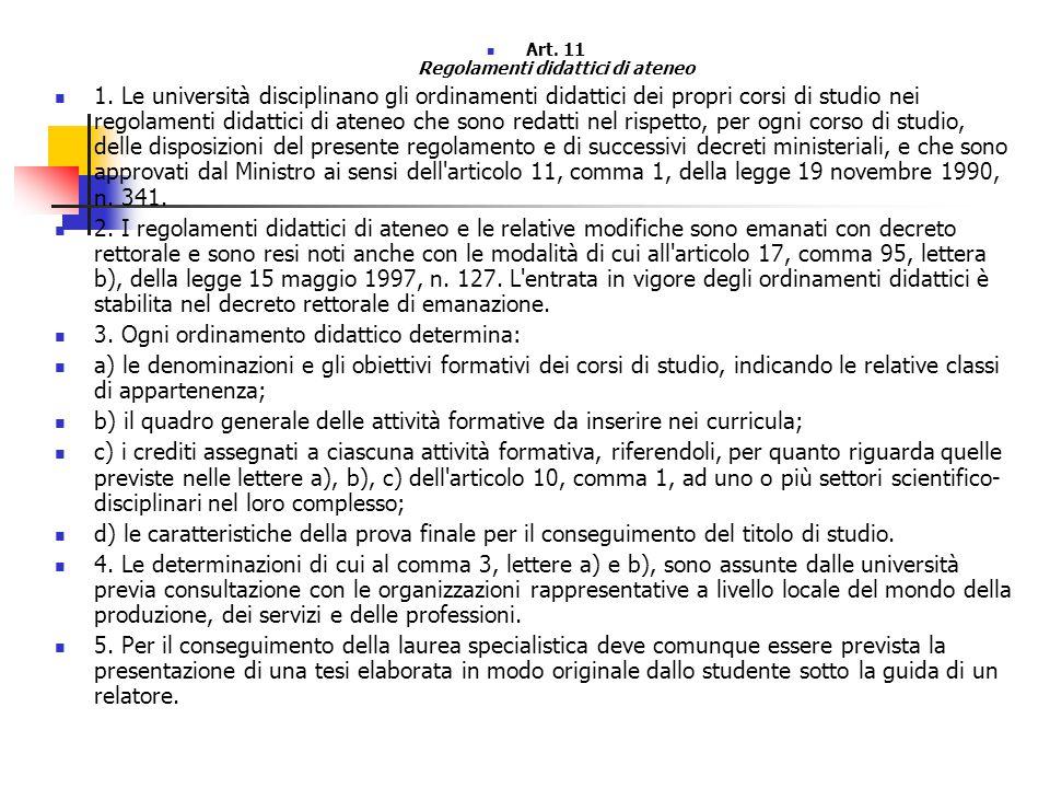 Art. 11 Regolamenti didattici di ateneo 1.