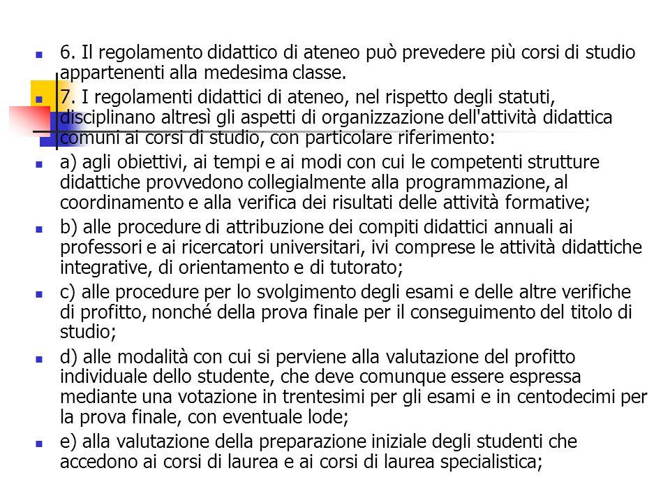 6. Il regolamento didattico di ateneo può prevedere più corsi di studio appartenenti alla medesima classe. 7. I regolamenti didattici di ateneo, nel r