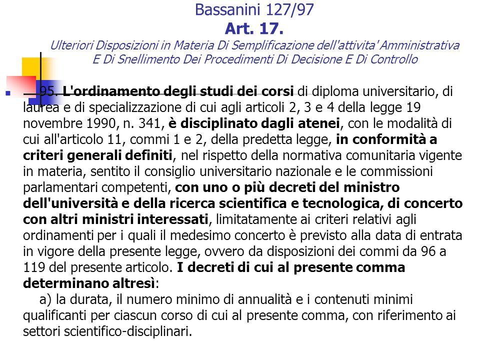 Bassanini 127/97 Art. 17.